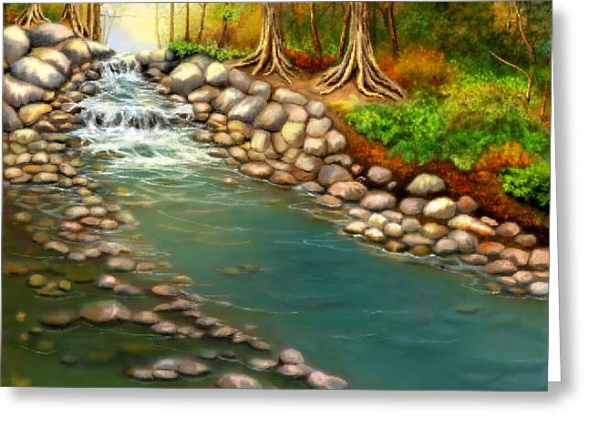 Greeting Card featuring the painting Creek In The Spring by Sena Wilson