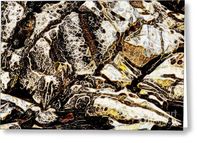 Abstract Digital Digital Greeting Cards - Creek Rock Abstract Greeting Card by Marv Vandehey