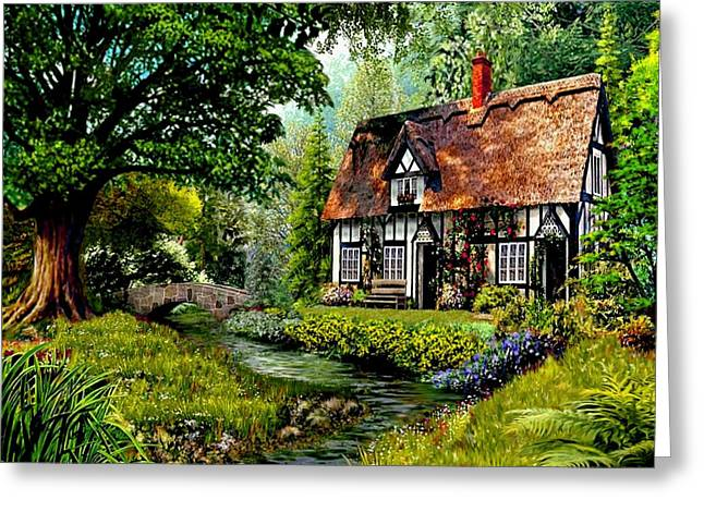 Creekside Cottage Greeting Card by Ron Chambers