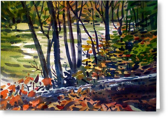 Creekside Tranquility Greeting Card by Donald Maier