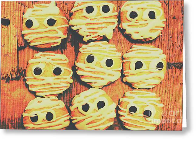 Creepy And Kooky Mummified Cookies  Greeting Card