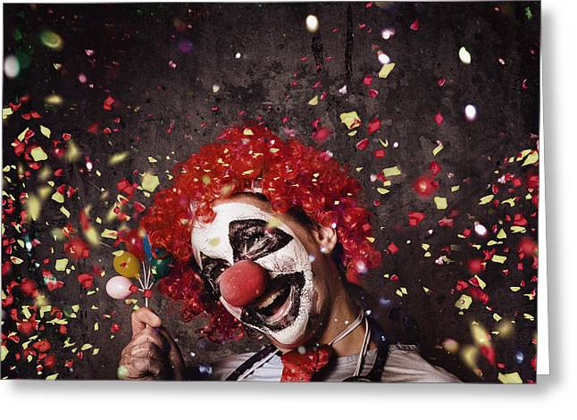 Creepy Birthday Clown At Party Celebration Greeting Card by Jorgo Photography - Wall Art Gallery