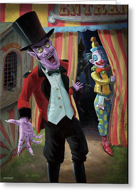 Greeting Card featuring the painting Creepy Circus by Martin Davey