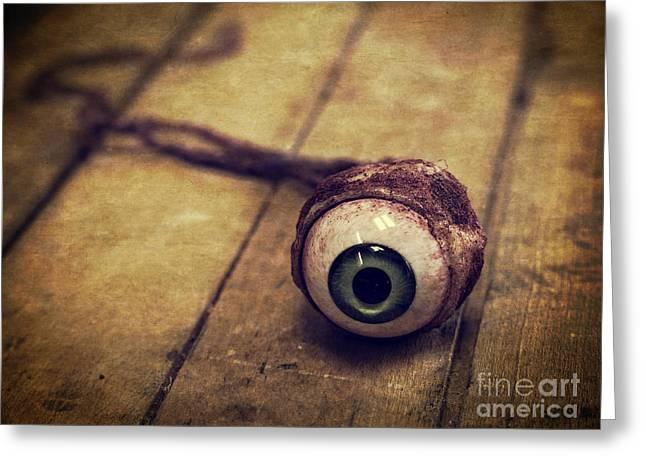 Creepy Eyeball Greeting Card by Edward Fielding
