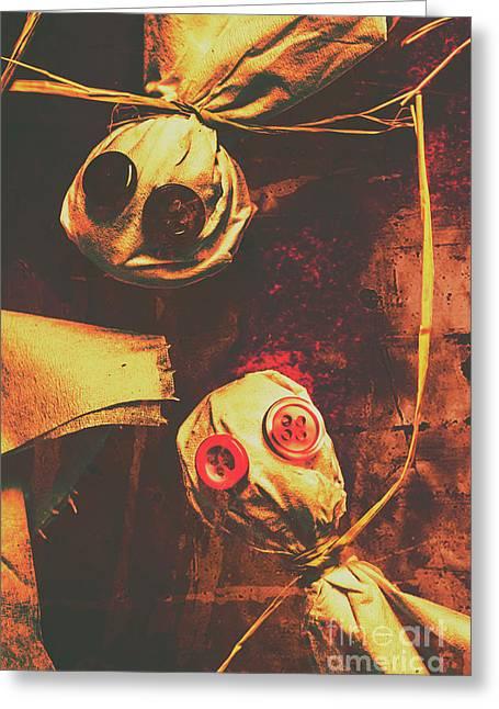 Creepy Halloween Scarecrow Dolls Greeting Card