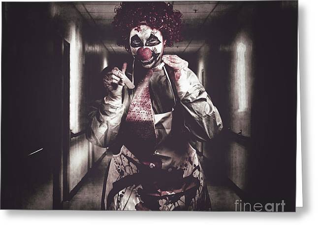 Creepy Medical Clown In Grunge Hospital Hallway Greeting Card