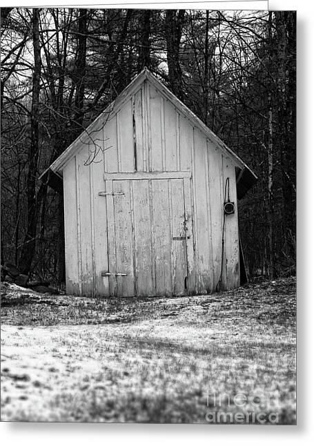 Creepy Old Shed In The Cemetary Greeting Card by Edward Fielding