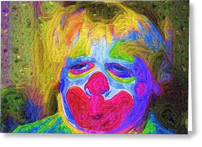 Creepy The Clown Greeting Card by Deborah MacQuarrie-Haig