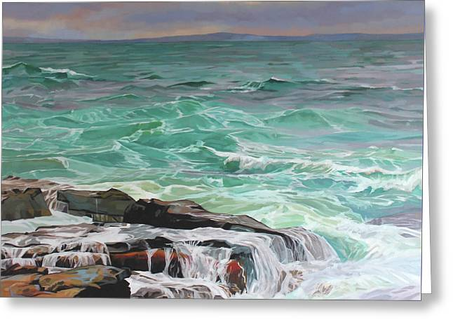 Creevy Storm 3, Waves Spill Over The Rocks Greeting Card by Kevin Lowery