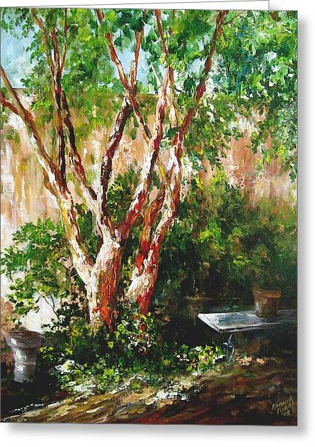 crepe myrtle SOLD Greeting Card by Gloria Turner