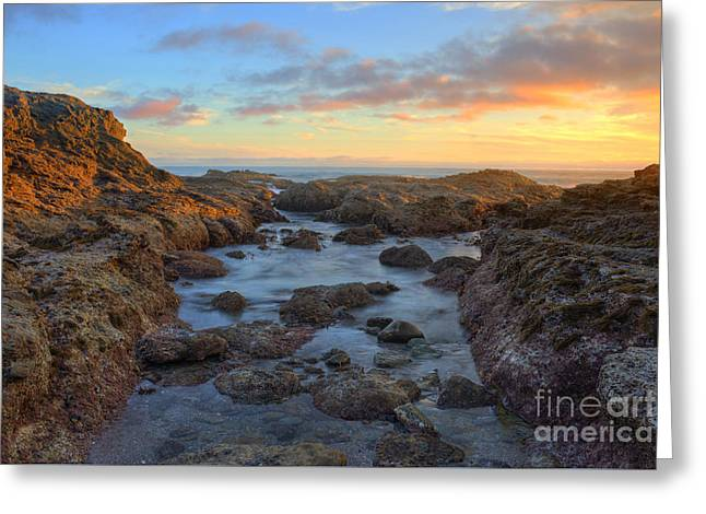 Crescent Bay Tide Pools At Sunset Greeting Card by Eddie Yerkish