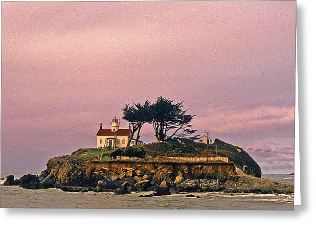 Attraction. Battery Point Lighthouse Greeting Cards - Crescent City Lighthouse Greeting Card by Nancy Hoyt Belcher
