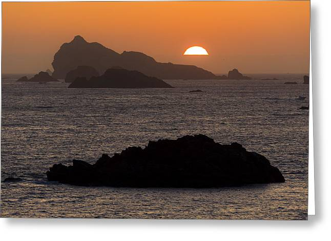 Crescent City Sunset From Battery Point Lighthouse Greeting Card by Joe Doherty