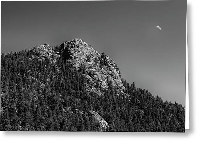 Greeting Card featuring the photograph Crescent Moon And Buffalo Rock by James BO Insogna