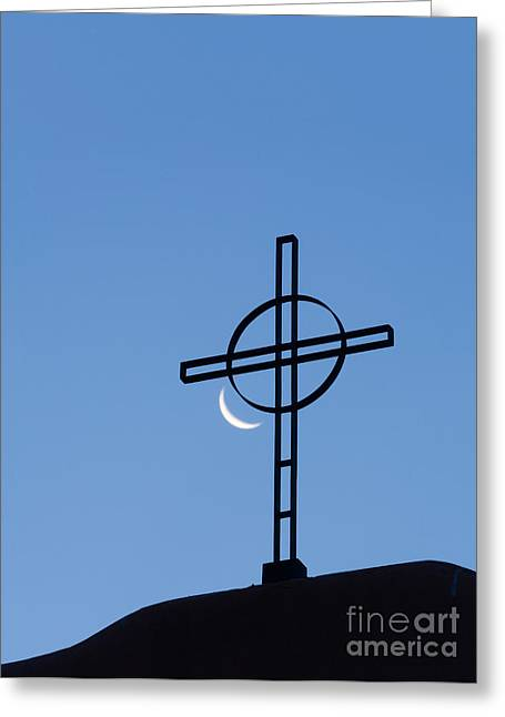 Crescent Moon And Cross Greeting Card