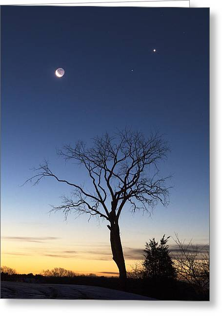 Crescent Moon And Venus Greeting Card by Eric Gendron