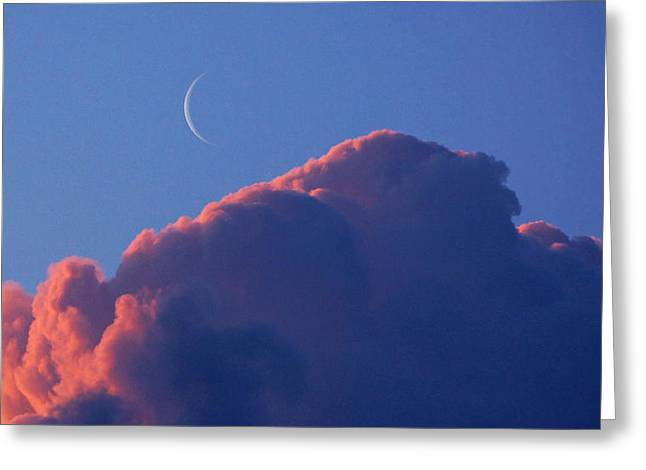 Crescent Moon In The Pink Greeting Card