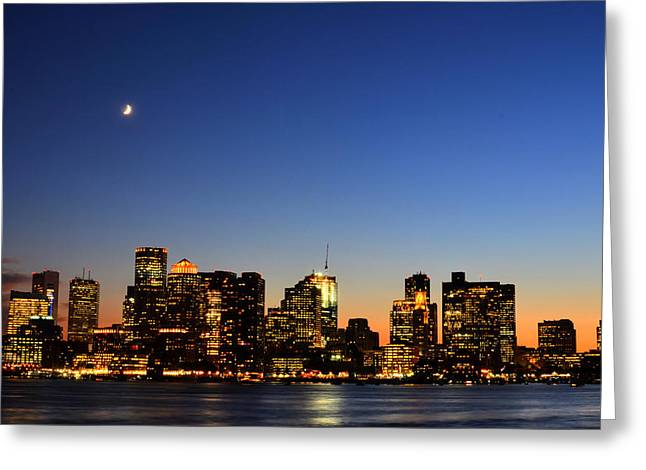 Crescent Moon Over Boston At Dusk From East Boston Greeting Card by Toby McGuire