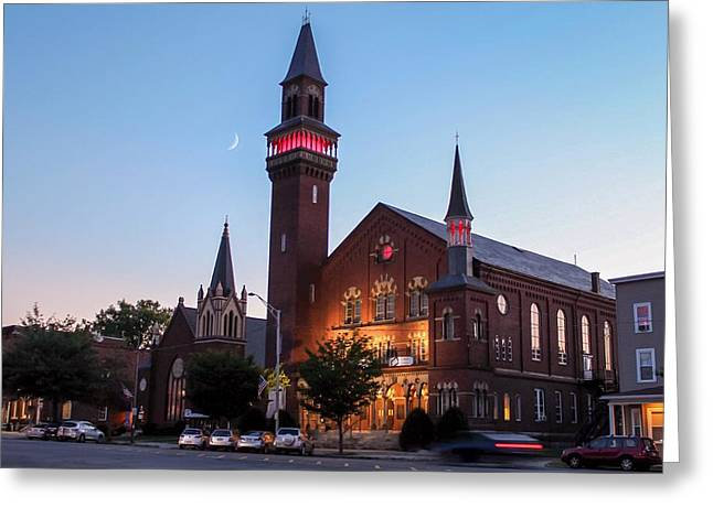 Crescent Moon Over Old Town Hall Greeting Card