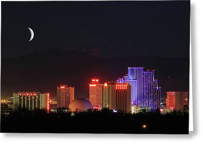 Crescent Moon Over Reno Greeting Card by Donna Kennedy