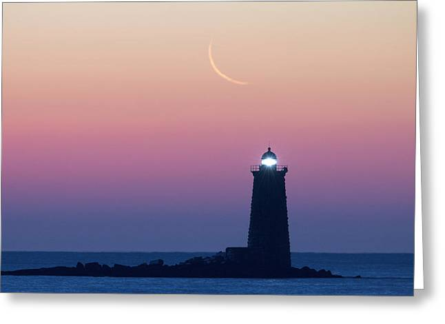 Crescent Moon Over Whaleback Greeting Card by Eric Gendron
