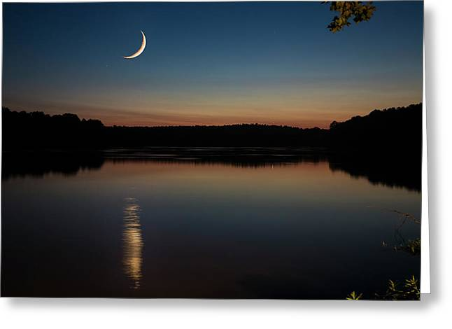 Crescent Moon Set At Lake Chesdin Greeting Card