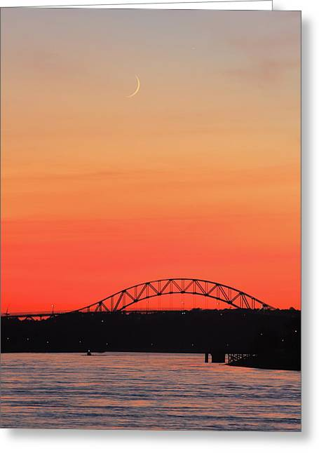 Crescent Moon Setting Over Cape Cod Canal Greeting Card