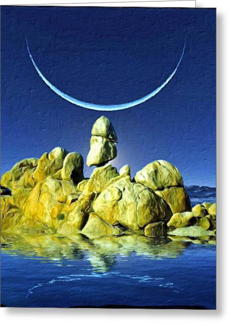 Crescent Moon Greeting Card by Snake Jagger