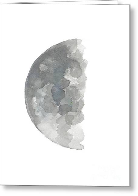 Crescent Moon Watercolor Painting, Silver Blue Gray Abstract Half Moon Art Print  Greeting Card