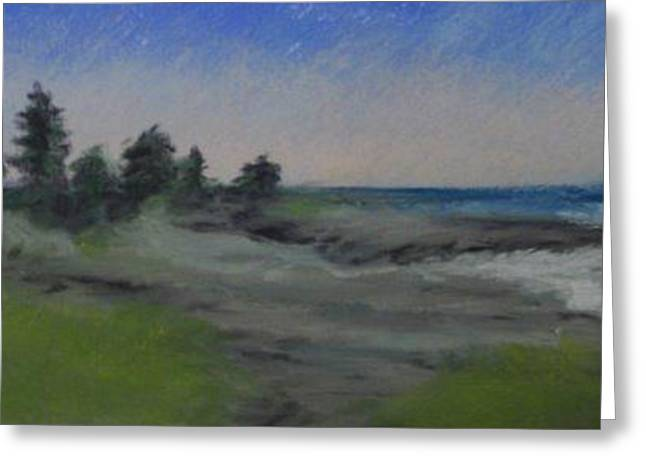 Maine Landscape Pastels Greeting Cards - Cresque Point pemaquid 4 Greeting Card by Lynne Vokatis