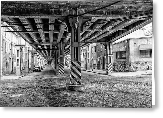 Cresson Street Elevated Railroad In Black And White Greeting Card by Bill Cannon