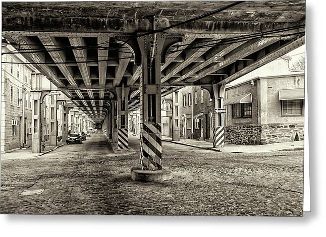 Cresson Street Elevated Railroad In Sepia Greeting Card