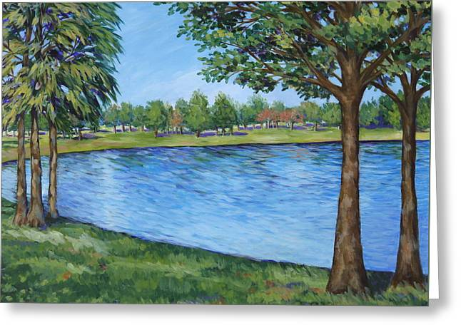 Greeting Card featuring the painting Crest Lake Park by Penny Birch-Williams