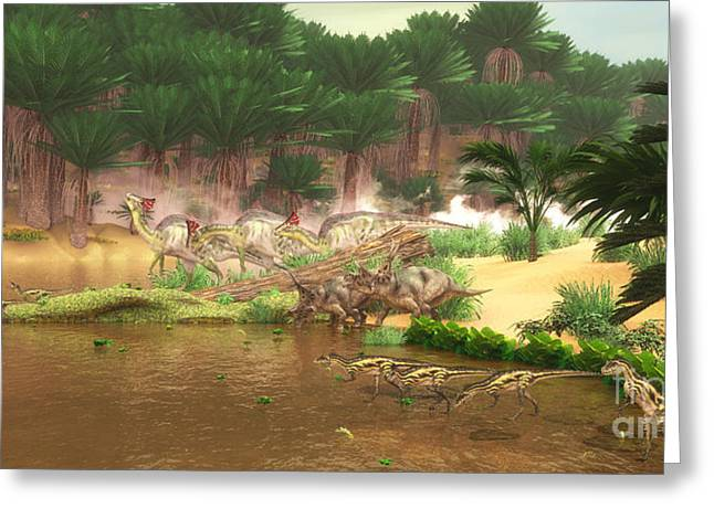 Cretaceous Dinosaur River Greeting Card by Corey Ford