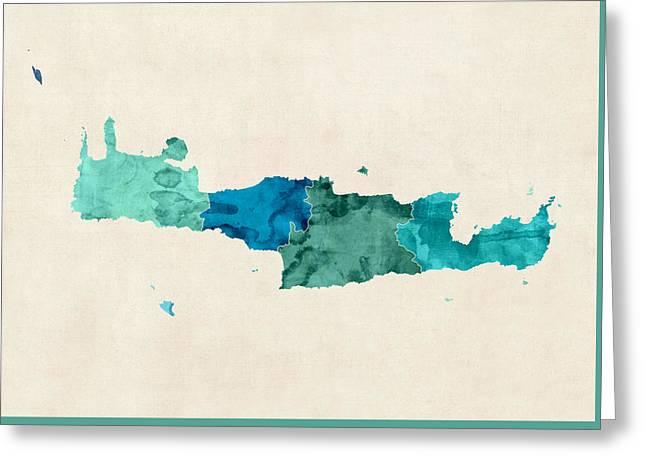 Crete Watercolor Map Greeting Card
