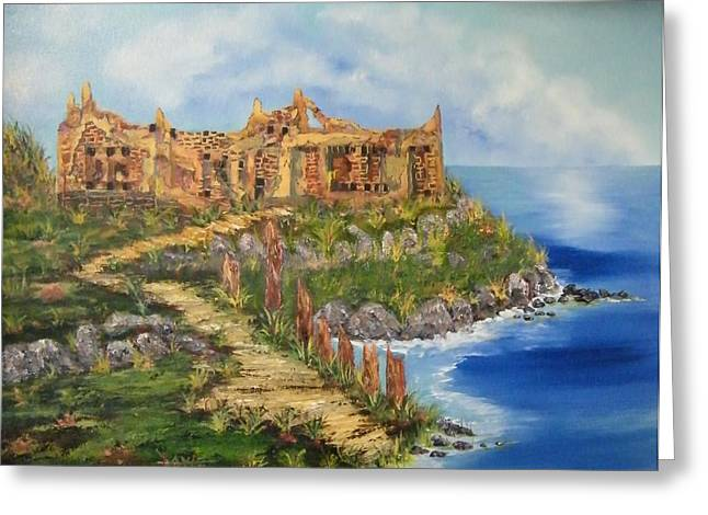 Cretian Ruins Greeting Card by Larry Doyle
