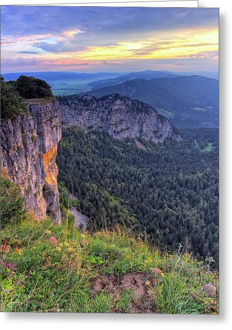 Creux-du-van Or Creux Du Van Rocky Cirque, Neuchatel Canton, Switzerland Greeting Card