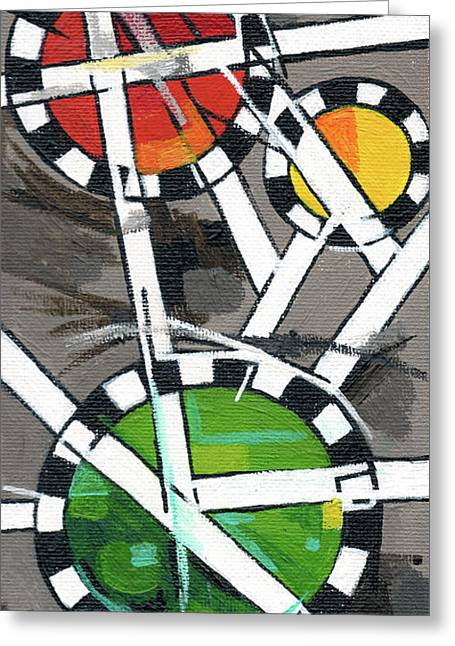 Creve Coeur Streetlight Banners Whimsical Motion 14 Greeting Card by Genevieve Esson