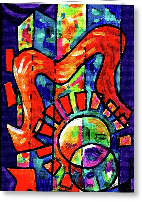 Creve Coeur Streetlight Banners Whimsical Motion 8 Greeting Card by Genevieve Esson