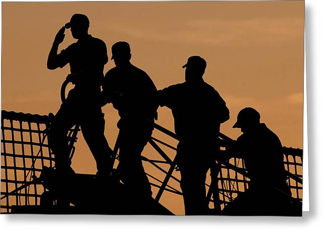 Law Enforcement Greeting Cards - Crewmen Salute The American Flag Greeting Card by Stocktrek Images