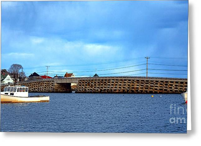 Cribstone Bridge And Boats On Bailey Island Greeting Card by Olivier Le Queinec