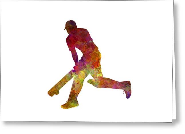 Cricket Player Batsman Silhouette 03 Greeting Card