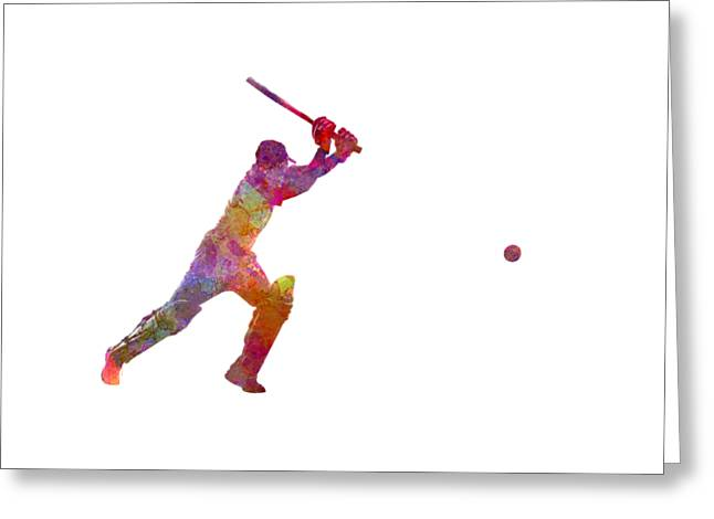 Cricket Player Batsman Silhouette 04 Greeting Card