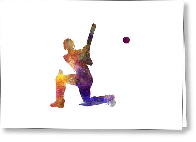 Cricket Player Batsman Silhouette 08 Greeting Card