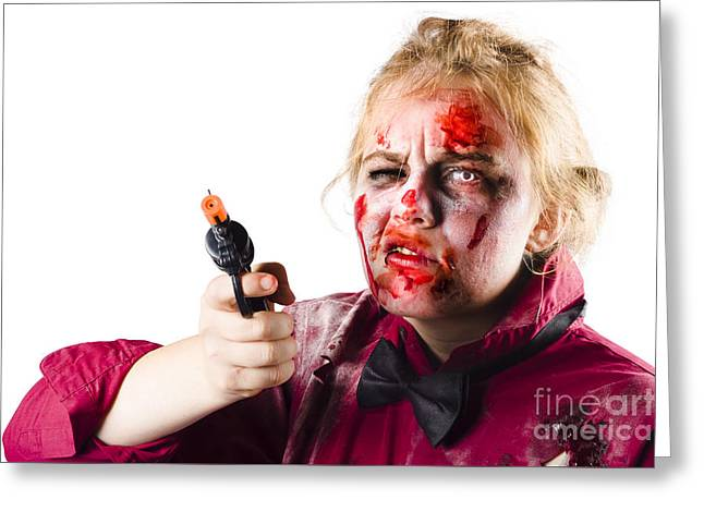 Criminal Zombie Pointing Revolver Greeting Card by Jorgo Photography - Wall Art Gallery