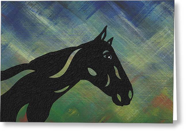 Crimson - Abstract Horse Greeting Card by Manuel Sueess