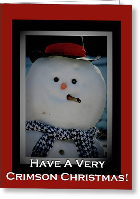 Crimson Christmas Snowman Greeting Card