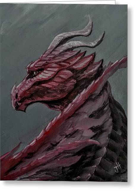 Greeting Card featuring the painting Crimson Dragon by Jennifer Hotai