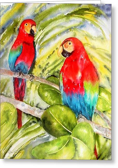 Crimson Macaws Greeting Card