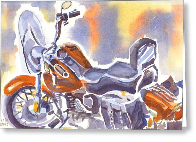 Crimson Motorcycle In Watercolor Greeting Card